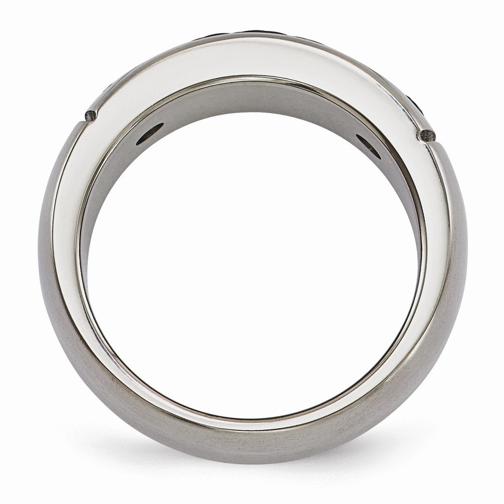 Jewels By Lux Edward Mirell Titanium Cable /& Spinel Argentium SS Bezel 9.25mm Band