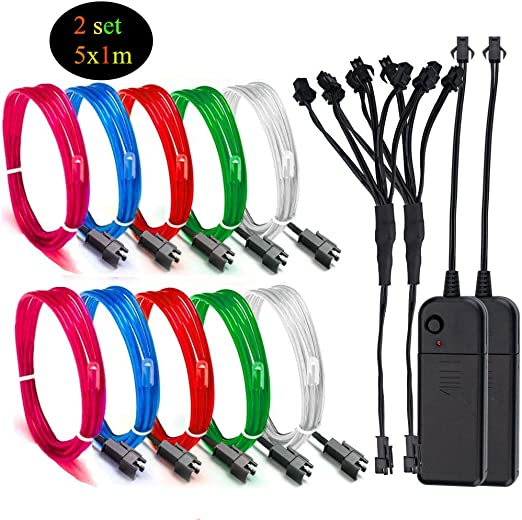 LED Light EL Wire String Strip Glow Decor Lamp USB Controlle 10 Colors Option US