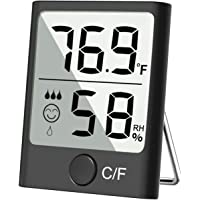 Cbiumpro Hygrometer Indoor Thermometer Digital Humidity Gauge Accurate Temperature Humidity Monitor Meter for Living Room, Greenhouse, Wine Cellar, Warehouse - Black