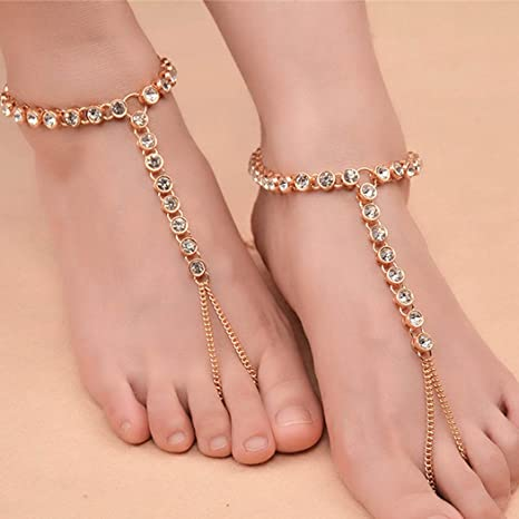 04cc1d62caad5d Chicer Crystal Anklet Bracelet Foot Chain Accessories Barefoot Sandal Beach  Jewellery with Toe Ring Adjustable for Women and Girls (Gold 1pc)   Amazon.co.uk  ...