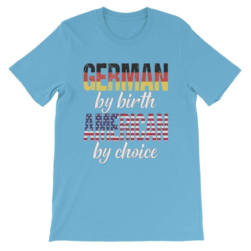 Short-Sleeve Unisex Tee Heritage Shirt DesignedGifts German by Birth American by Choice Print Tshirt