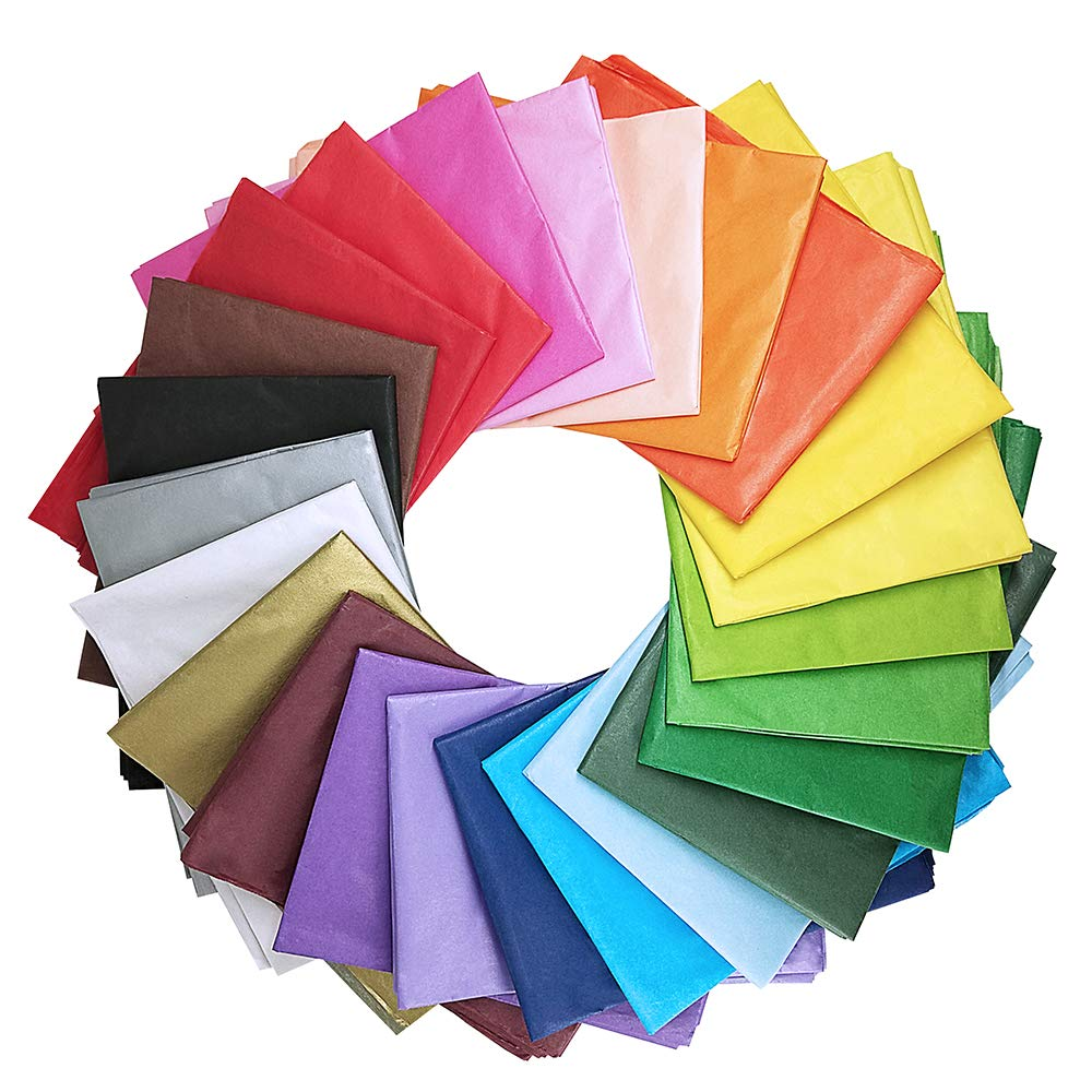 Supla 120 Sheets 24 Colors Tissue Paper Bulk Wrapping Tissue Paper Art Rainbow Tissue Paper 20 x 26'' for Art Craft Floral Birthday Party Festival Gift Wrapping Decorative Tissue Paper Pom Pom by SUPLA