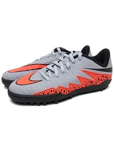 Nike Jr. Hypervenom Phelon II Turf Soccer Cleats (Wolf Grey, Total Orange)