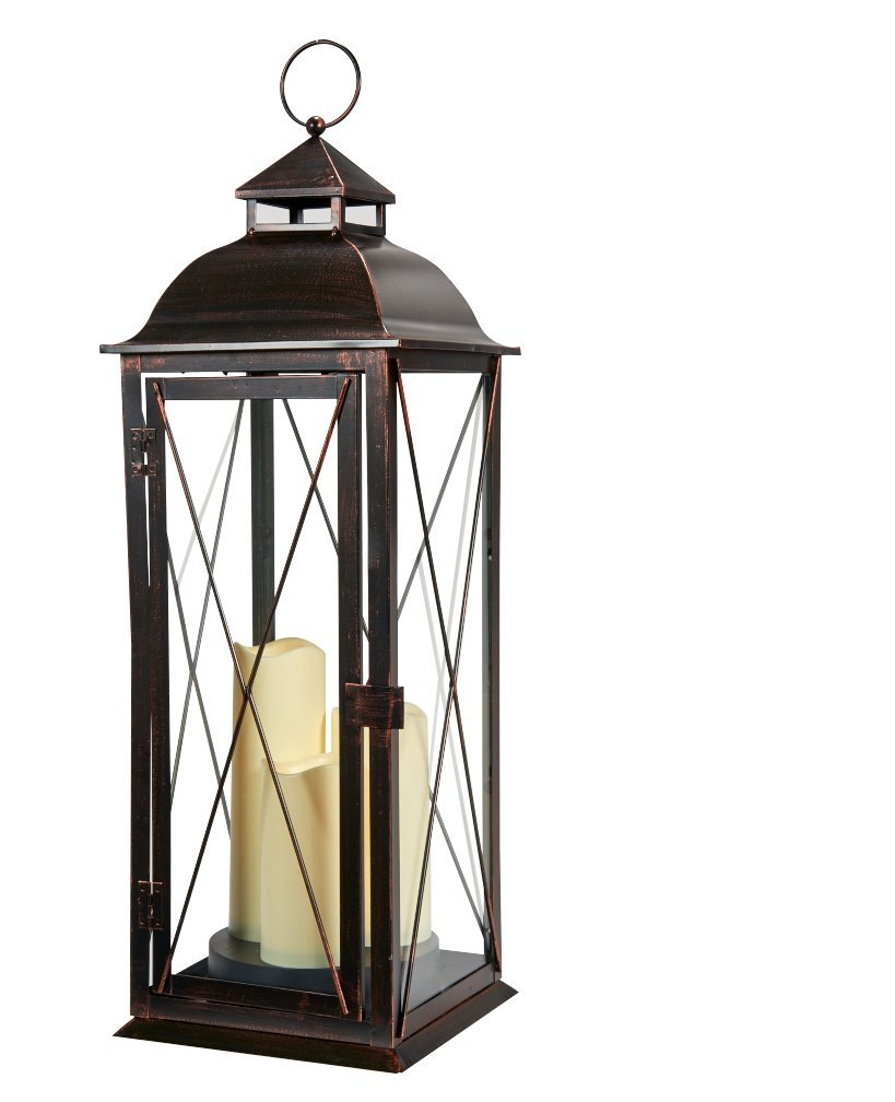 Smart Living Salerno 27-Inch Triple LED Candle Lantern, Battery Powered By Three Integrated LEDs, Suitable For Both Indoor And Outdoor Use, 80073