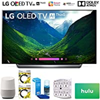 LG OLED65C8PUA 65 Class C8 OLED 4K HDR AI Smart TV 2018 Model (OLED65C8PUA) with Google Home, 2x 6ft HDMI Cable, Screen Cleaner for LED TVs, 6-Outlet Surge Adapter & 100 Hulu PLUS Gift Card