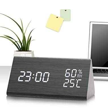 Digital Alarm Clock with 3 Settings and Snooze (Black)