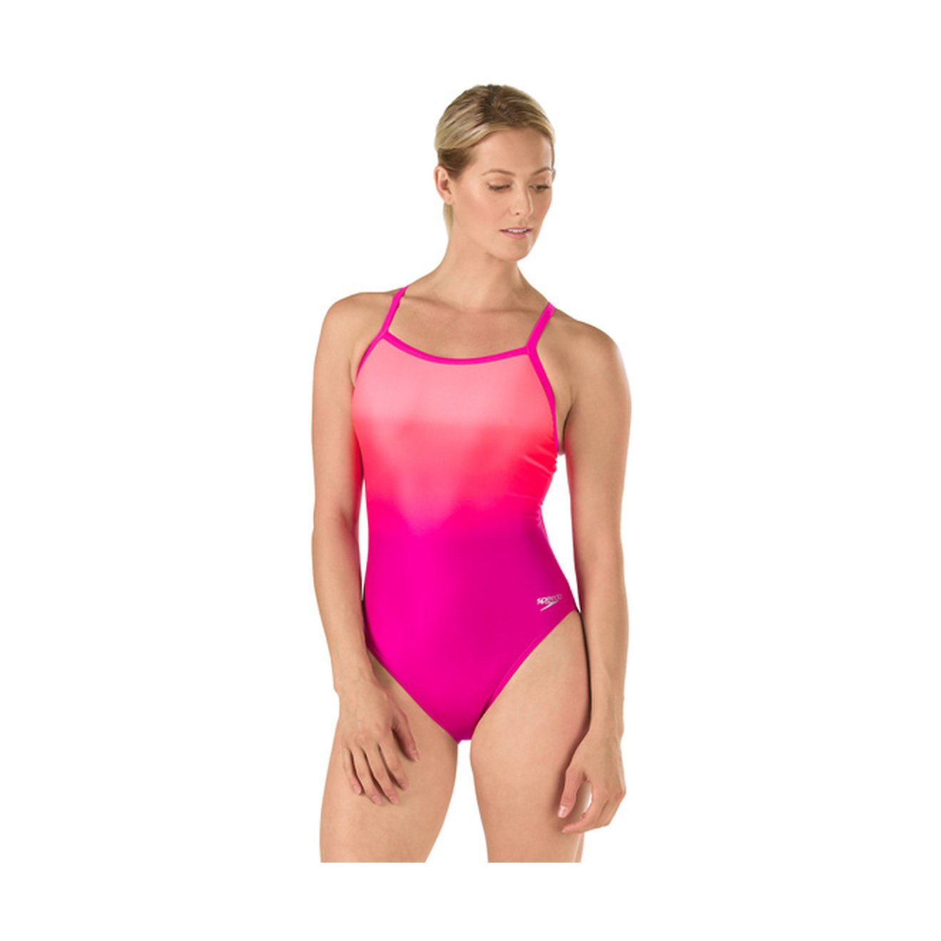 Speedo Womens Powerflex Eco Ombre Flyback One Piece Swimsuit