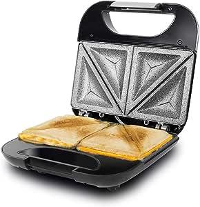 Cecotec Parrilla Eléctrica Rock´n Toast Fifty-Fifty. Revestimiento Antiadherente RockStone, Capacidad para 2 Sandwiches, Superficie Triángulos, Asa Tacto Frío, Recogecables, 750 W
