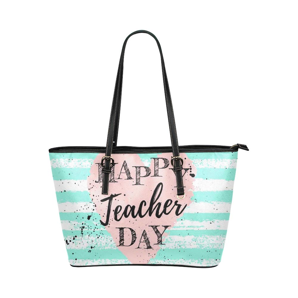 Happy Teacher Thanks Day With Letter Large Soft Leather Portable Top Handle Hand Totes Bags Causal Handbags With Zipper Shoulder Shopping Purse Luggage Organizer For Lady Girls Womens Work