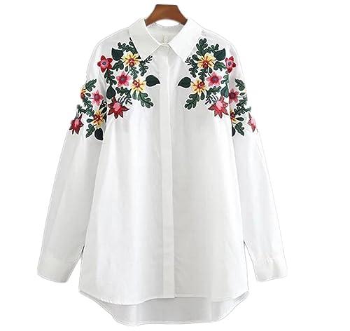 Primavera Estilo Europeo Flor Del Bordado Parte Larga De La Camisa De Algodón Camisa Blanca Femenina
