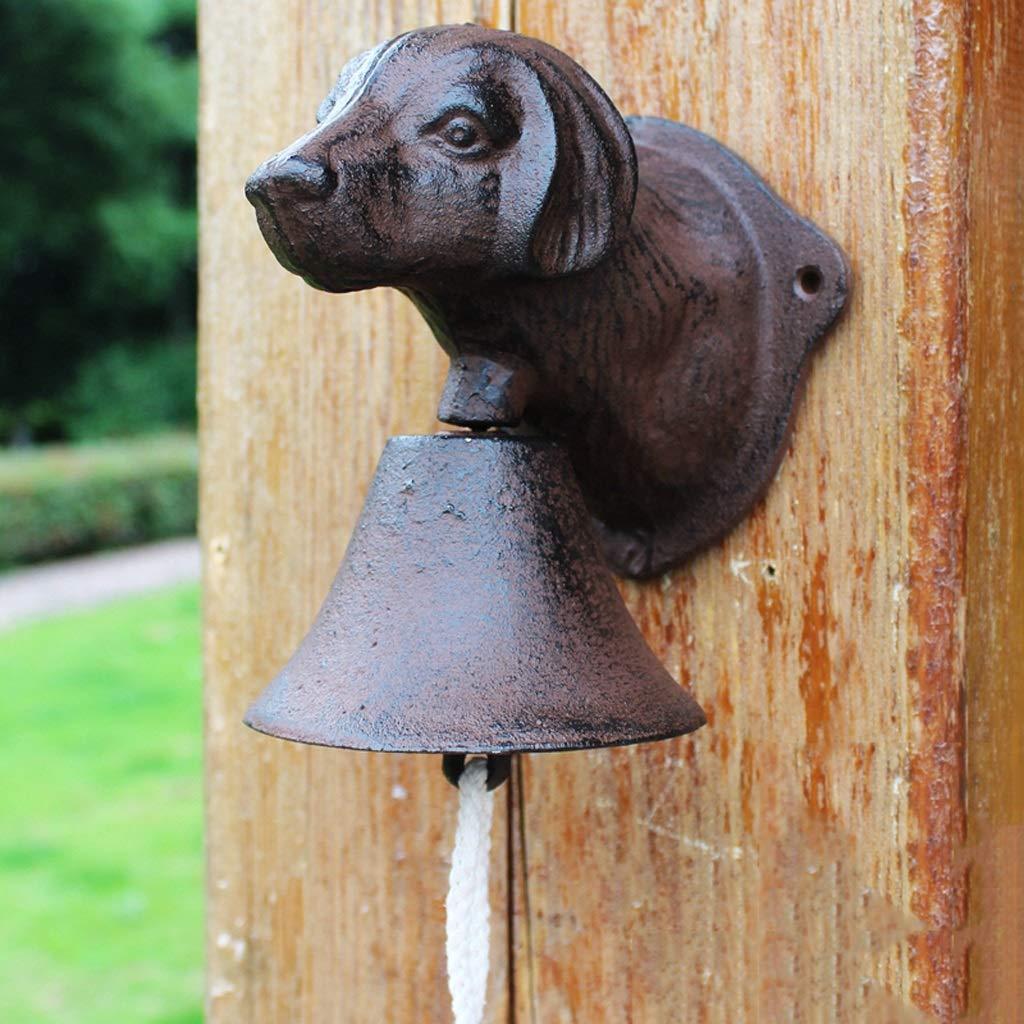 GLJJQMY Cast Iron Dog Head doorbell French Antique Wrought Iron Wall Decoration Cafe Decoration Garden Pendant 13.5x11.5x15cm etro doorbell