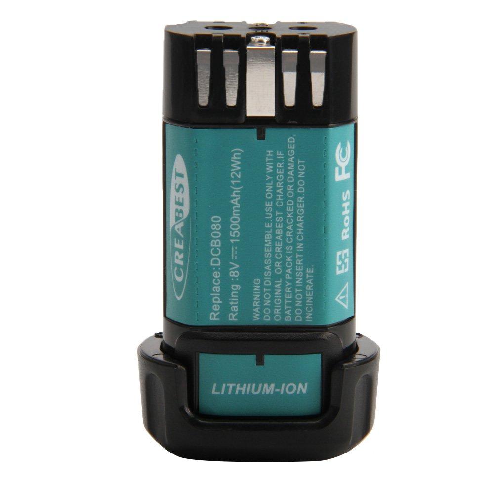 Creabest New Li-ion 1500mAh 8-Volt Battery Compatible with DEWALT MAX DCB080 DW4390 DCF680N1 DCF680N2 DCF680G2