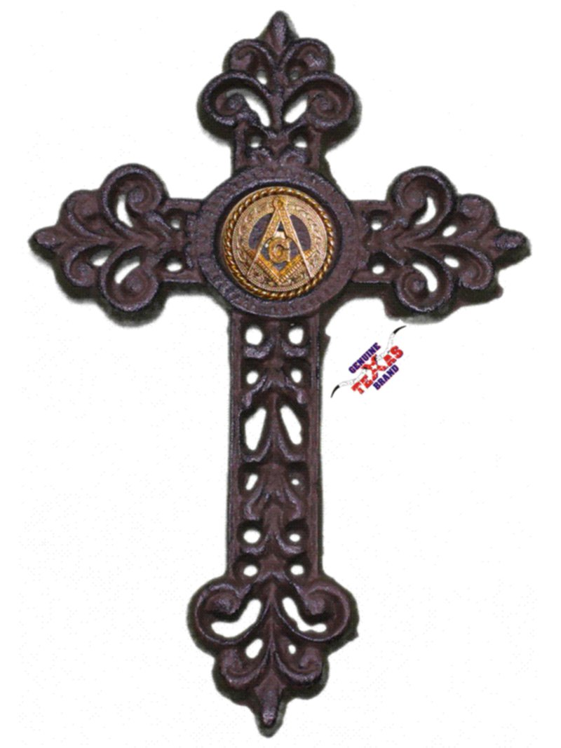 Mason Cast Iron Cross with Masonic Square and Compass Concho 9 1/2 X 6 1/2 Genuine Texas Brand