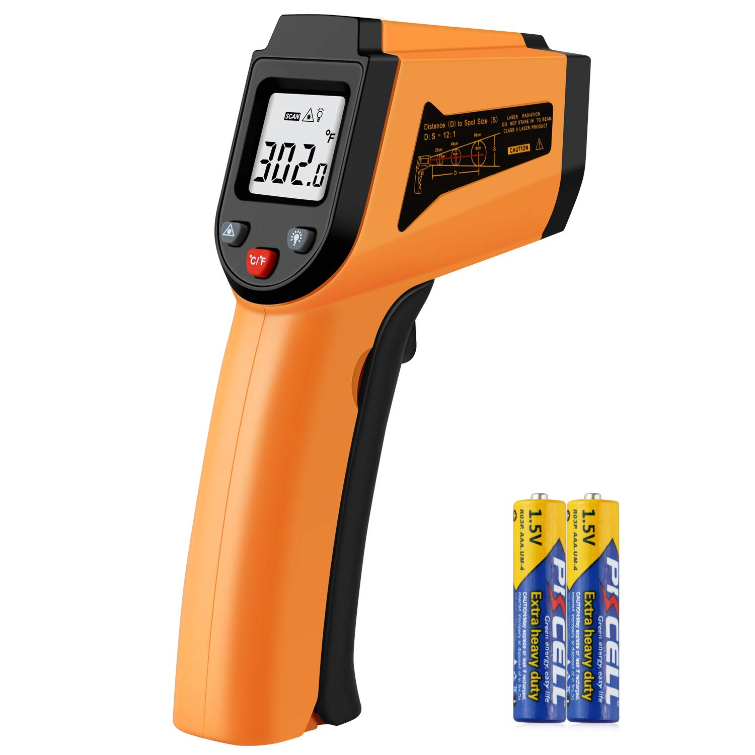 Infrared Thermometer, Non-Contact Digital Laser Infrared Thermometer Temperature Gun -50°C to 400°C(-58°F to 752°F) with LCD Display by PAPOGO
