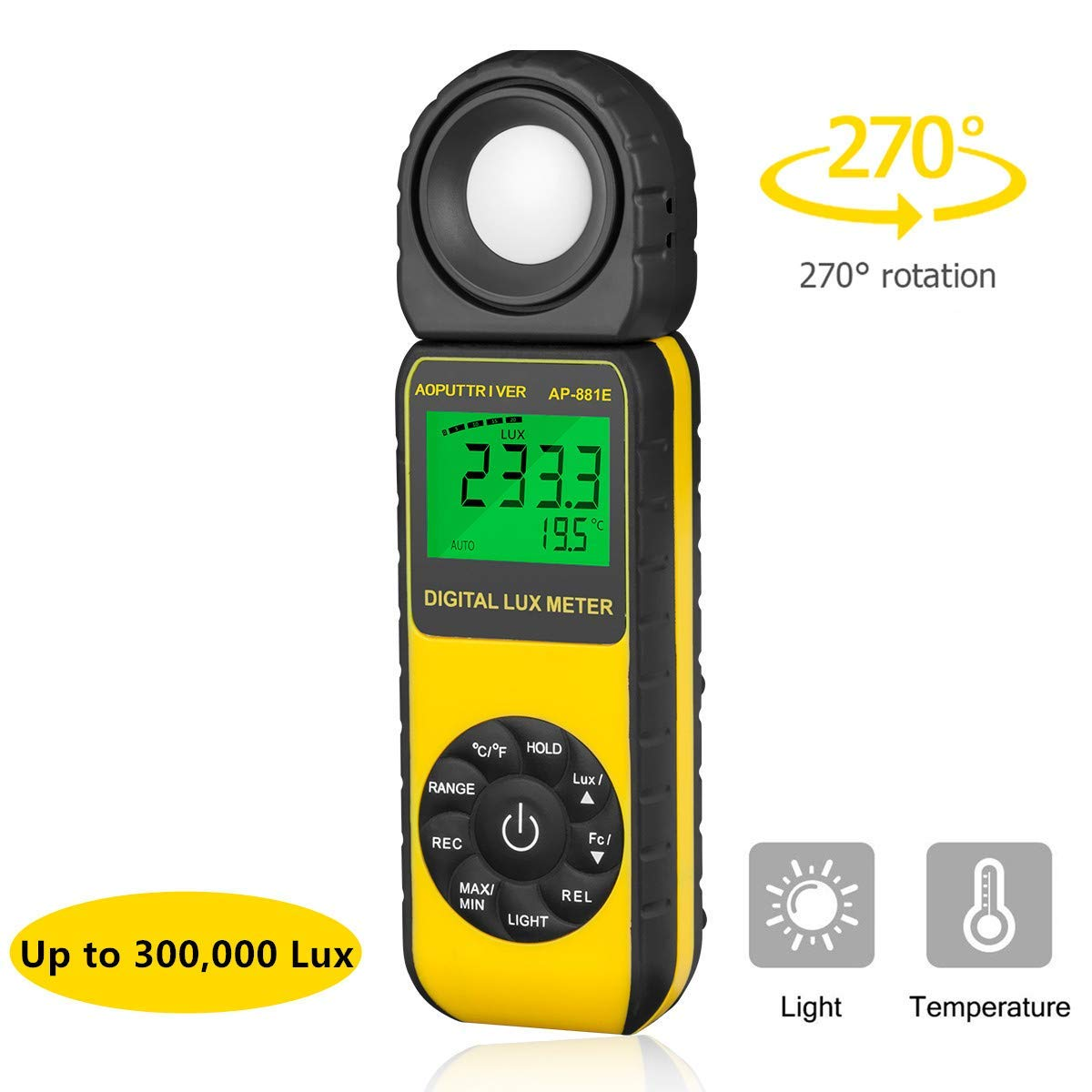Digital Light Meter Illuminance Meter Lux Meters AP-881E with Display 3999(Range from 1~300,000Lux),Unit Lux/Fc,MAX/MIN,Back Light,Data Hold,Data Storage by AOPUTTRIVER