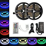 Aifulo Led Strip Lights Kit 5M/16.4Ft SMD 3528 300Leds RGB Color Changing Flexible Led Light Strip Tape Lights with 12V 5A Power Supply and 44Key IR Remote Control for Christmas Party Indoor Outdoor