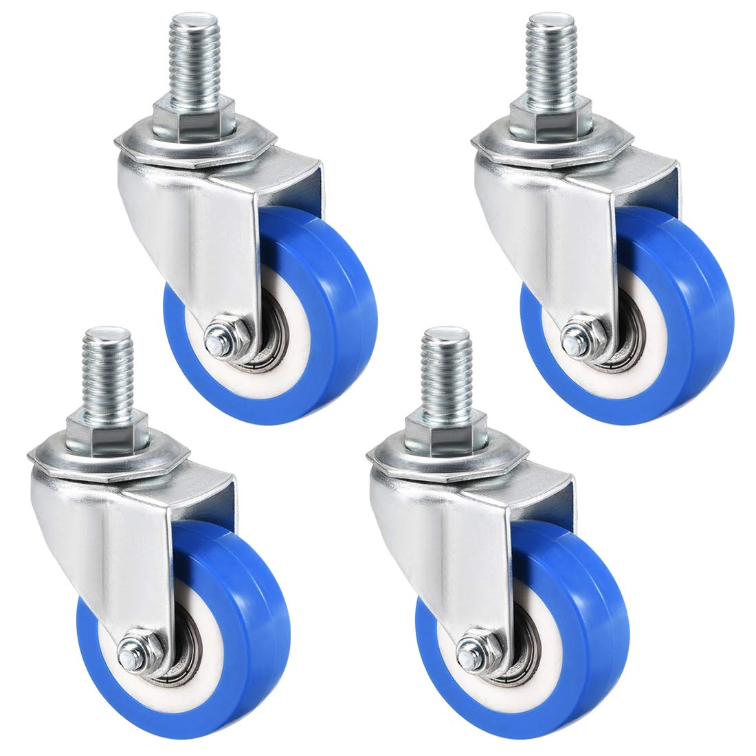 uxcell Swivel Caster Wheels PU Caster 2 Inch Dia Blue Wheel M12 x 20mm Threaded Stem 132lb Capacity, 4pcs