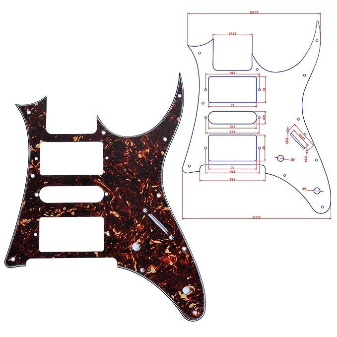 100pcs HSH Dark Brown Tortoise Shell sustitución de Eletric Guitarra Pickguard Ibanez RG250 estilo: Amazon.es: Instrumentos musicales