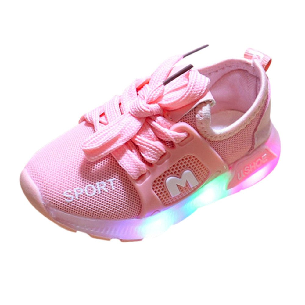 cd86e206b2779 WARMSHOP Kids Light Up Sneakers 1-6T Boys Girls Colorful Soft Sole  Breathable Air Mesh Lace-Up Luminous Outdoor Sport Shoes (2.5-3 Years Old,  Pink)