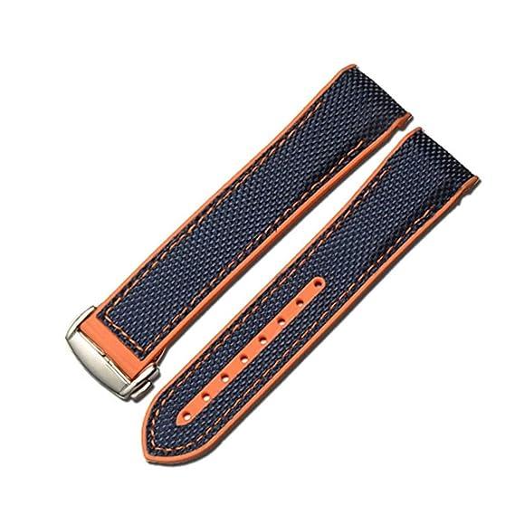 online retailer 04b79 21cb4 Nywing 時計ベルト22mm OMEGAベルト オメガベルト シリコン+キャンバス ラバーベルト防水 Dバックル 時計バンド 交換ベルト  腕時計ベルト ストラップ