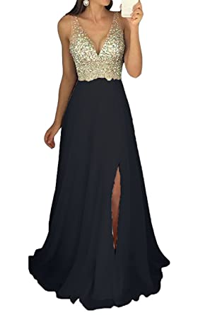 87431e4c848 Icy Sun Women s V Neck Beaded Prom Dresses Long Split Chiffon Evening Gowns  Formal with Sequins