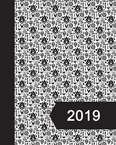 2019 One Page a Day Daily Planner & Monthly Calendar, Jan 2019 - Dec 2019 | Black Floral (8 x 10) (2019 One Page a Day Planners) [Rose, Audrina] (Tapa Blanda)