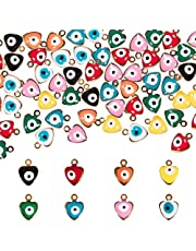 PH PandaHall 160pcs 8 Color Heart Evil Eye Enamel Charms Pendants Mini Alloy Golden Tone Heart with Evil Eyes Charms for DIY Bracelet Necklace Earring Jewelry Accessories, 9x7x5mm