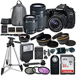 Canon EOS 80D Digital SLR Camera with Canon EF-S 18-55mm IS STM Lens + Canon EF-S 55-250mm f/4-5.6 IS STM Lens + Sandisk 32GB SDHC Memory Cards + Accessory Bundle