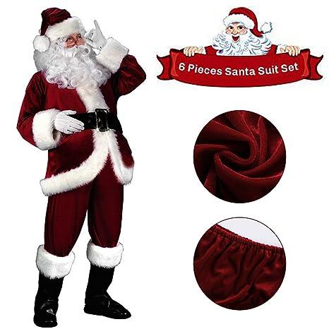 sumuya Disfraz de Papá Noel para Adulto (6 Piezas), Disfraz Santa Claus, Súper Alto Piel de Conejo Puro Traje de Santa, Muy cómodo, Color Vino Rojo.