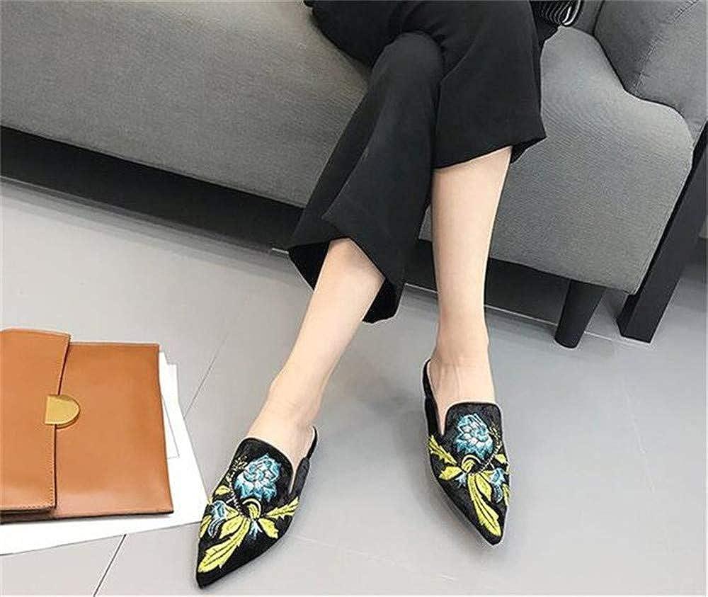 Mimi Soul 2019 Summer Women Pointed Toe Flat Slippers Velvet Flower Printed Slides Women Party Shoes