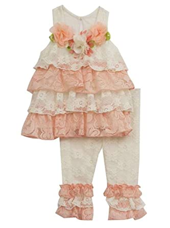 d9ce1dad127 Rare Editions Baby Girls Lace Ruffle Flowers Top Leggings Set Peach Ivory