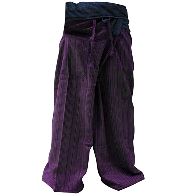 2 TONE Thai Fisherman Pants Yoga Trousers FREE SIZE Plus Size Cotton Drill Striped Blue and Purple