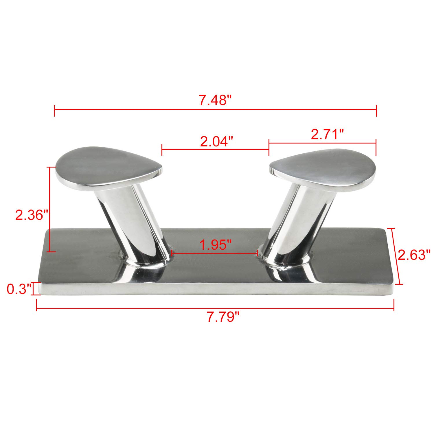 Amarine Made 316 Stainless Steel Heavy Duty Double Horn Bollard Cleat for Marine Boat Trailer Mooring Rope Cleat-160mm//200mm//235mm//300mm//350mm