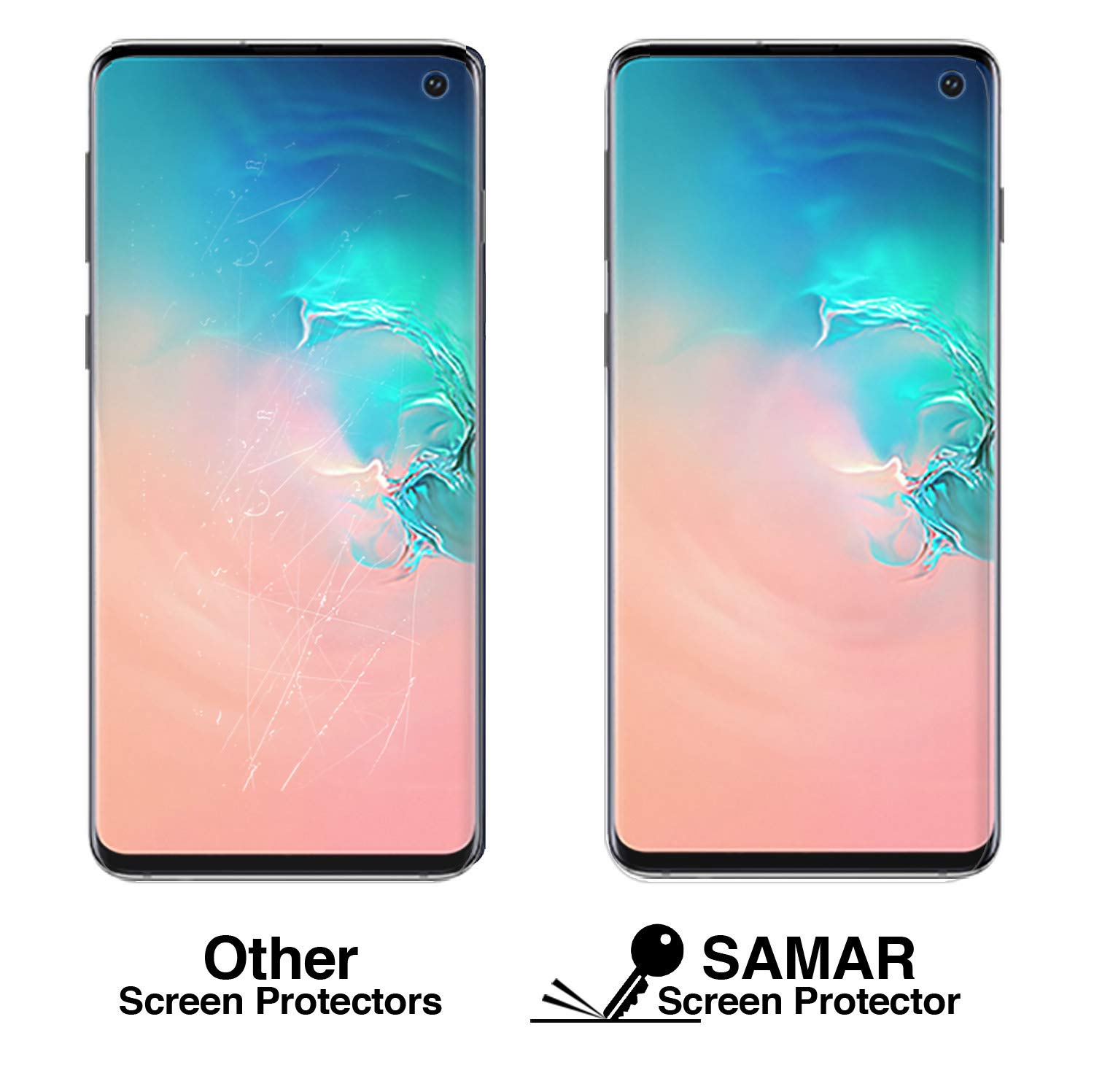 SAMAR Screen Protector (3 in Pack) for Samsung Galaxy S10, Premium Quality [Case Friendly] Crystal Clear Protectors {Full Size} highly invisible and work with in display fingerprint for Galaxy S10
