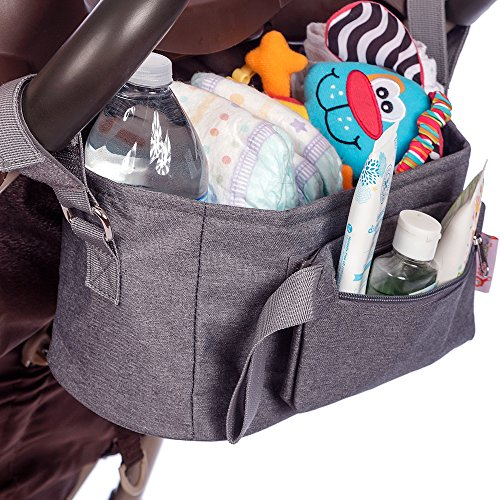 Baby Stroller Organizer by BabyBubz - Premium New Sleek Design - Durable Cup Holders - Universal Fit - tons of Storage for Phones, Keys, Diapers, Baby Toys, Snacks, Accessories - Best Shower Gift by BabyBubz (Image #2)