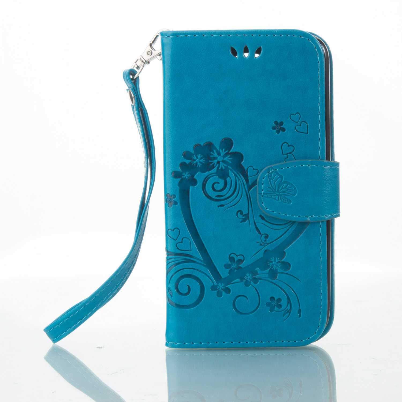 Bear Village® Coque LG K10, Housse à Rabat en Cuir pour LG K10, Anti Rayures Portefeuille Coque avec Emplacements pour Cartes, Bleu