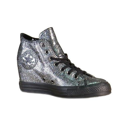ba0c4660a415f8 Converse Womens Chuck Taylor Lux Mid Hidden Platform Wedge Silver Black Black  (6