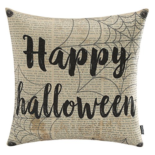 TRENDIN 18x18 Vintage Black Happy Halloween Spider Web Old Newspaper Cotton Linen Cushion Cover Throw Pillow Case Sofa Decorative(PL063TR) -
