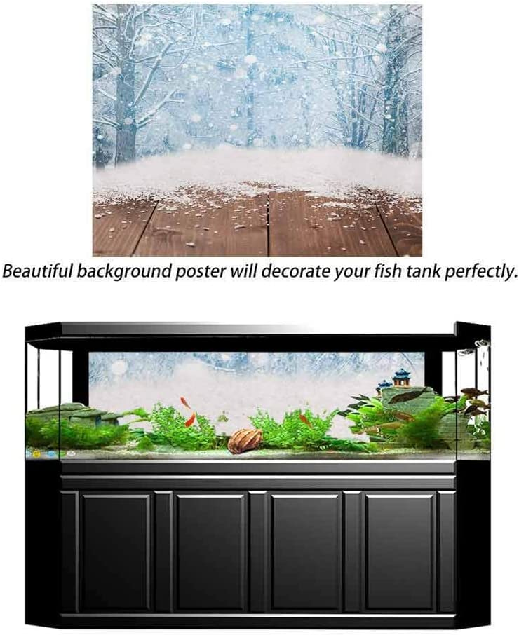 ScottDecor Winter Underwater World Backdrop Blizzard Scenery Nature Wooden Planks Cold Morning Pine Trees Outdoors Photography Background Caramel Pale Blue White L36 X H24 Inch