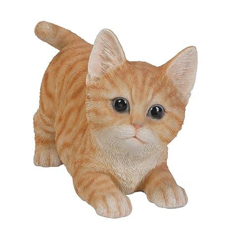 Realista y divertida gato naranja gato figura coleccionable Amazing detalle de cristal Ojos pintada a mano