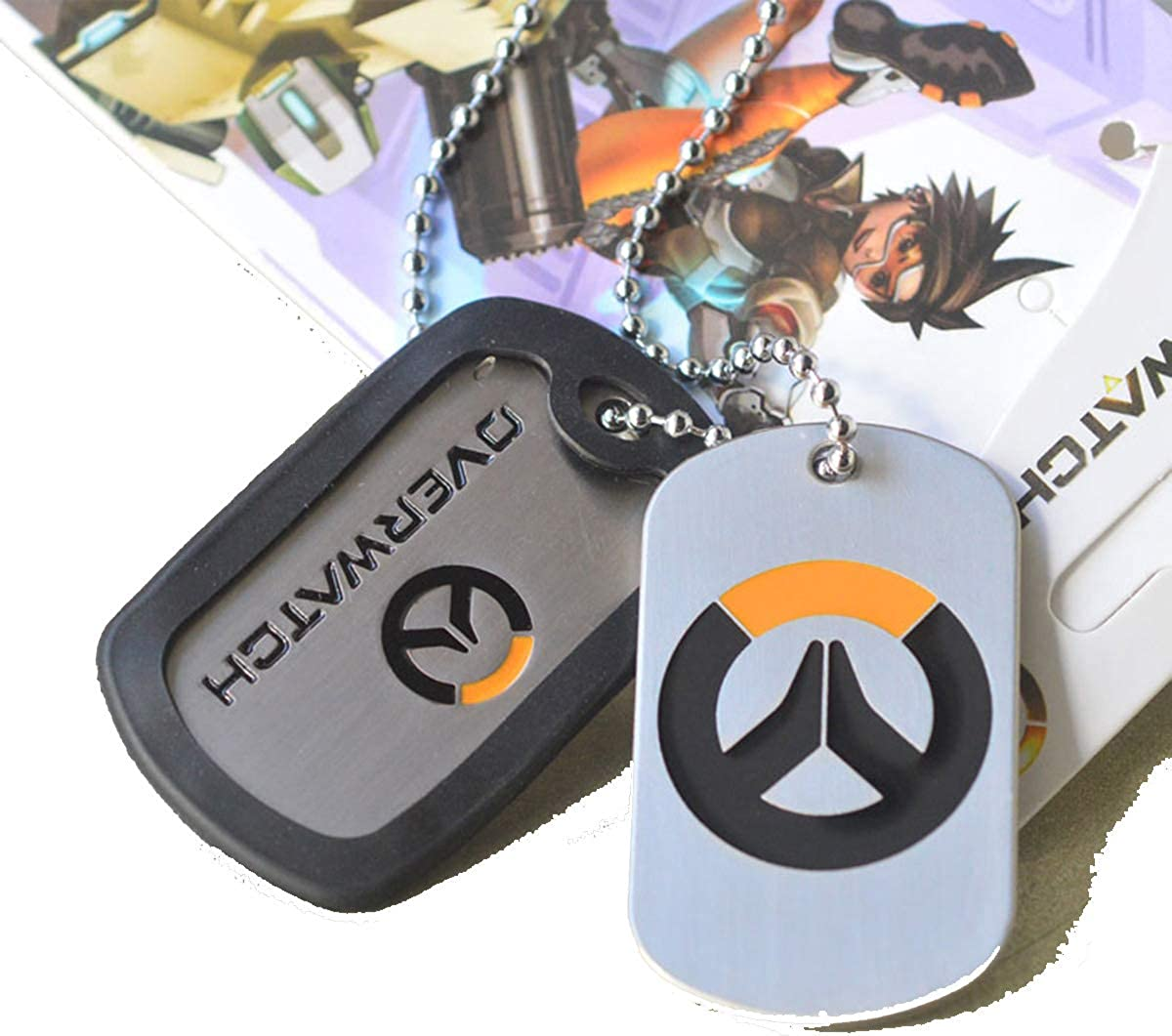 Baoleiju - Collar con Logotipo Overwatch con Colgante de Doble Etiqueta con Caja de Joyas, Collar Overwatch para niños, niñas (Plata): Amazon.es: Joyería