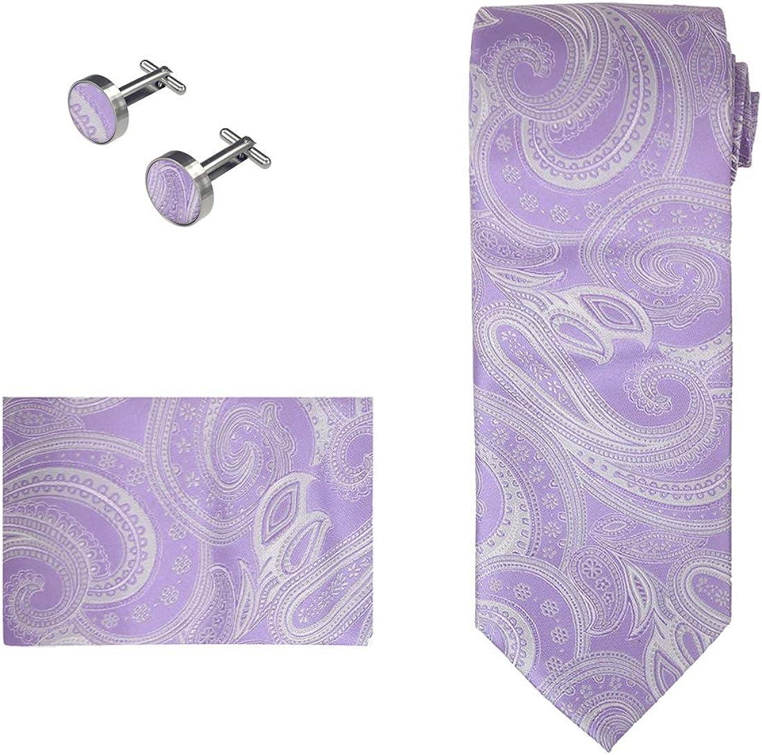 Epoint Mens Fashion Paisley Neck Tie Evening Silk Necktie Cufflinks Hanky Set