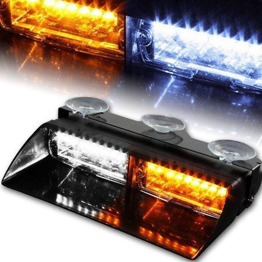 Linkitom 16 LED Hazard Warning Beacon Lights for Vehicle Interior Roof//Dashboard//Visor//Front Windshield with Suction Red/&White 12V Law Enforcement Emergency Car Strobe Lights
