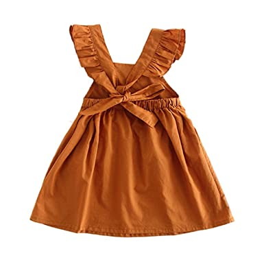 dcea522b871ec Brown Color Ruffles Back V Design Bowknot Girl Dress Summer 2017 Kids  Clothes (2-