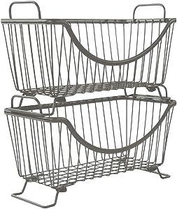 LeleCAT Stacking Baskets Organizer Food, Fruit, Vegetable Safe - Kitchen - Set of 2 (Grey)