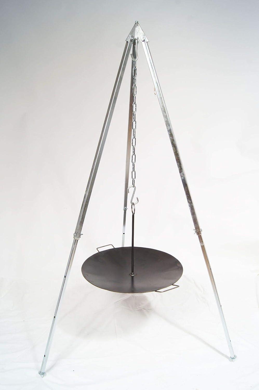 Unbekannt Grillpfanne Feuerschale Eisen 48cm + Teleskop Dreibein 1,6m