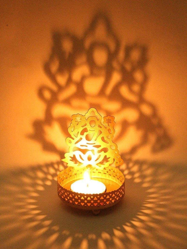 Traditional Laxmi Tea Light Candle Holder Stand Statue Religious for Home/Office Diwali Decoration Gift - 1 Piece (Free Tealight Candle)