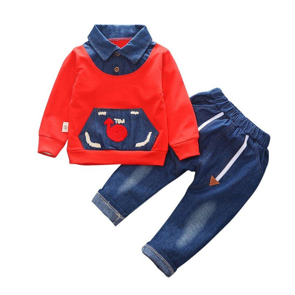 Blaward 2 stücke Baby Jungen Mädchen Outfits Baumwolle Langarm T-Shirt + Denim Jeans für Frühling Herbst Winter