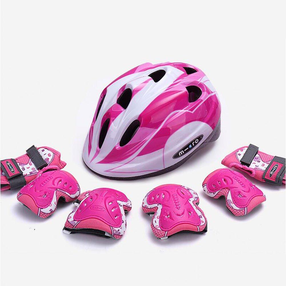 WX xin Schutzausrüstung Kind Helm Schutzausrüstung xin Set Fahrrad Skateboard Schlittschuhe Knieschoner Schutzhelm (Farbe : Rosa, größe : M) 06c7eb