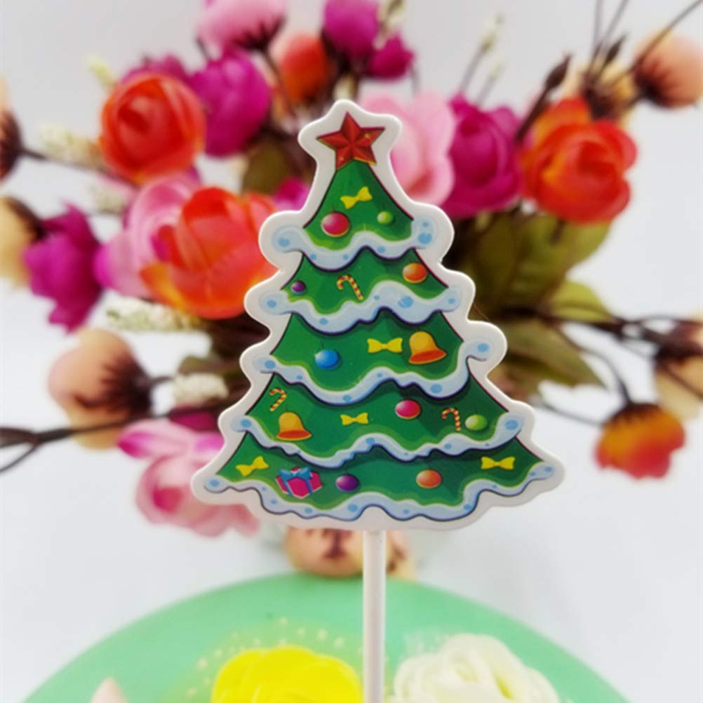 5pcs Christmas Cupcake Cake Toppers Decorations Food Muffin Fruit Sticks Sleigh Walking Stick Christmas Tree Toppers Picks Wedding & Anniversary Bands